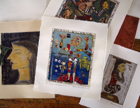 Collaged and Hand Painted Prints