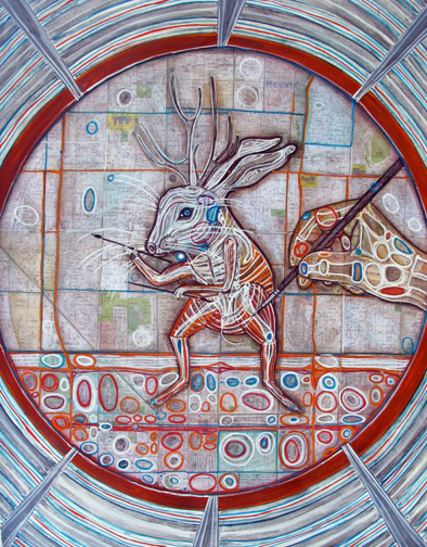 Lepus Temperamentalus (Jackalope) In a View Finder Mixed Media Collage 18 1/4 x 14 1/4