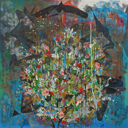 Love is what you make it out to be 2013 72 x 72 Mixed Media Collage on Canvas .
