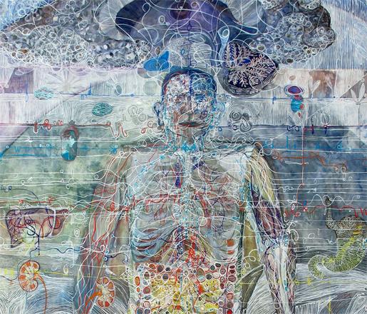 "Monica Aissa Martinez Male Front Body (detail) MM on Paper 96"" x 60"""