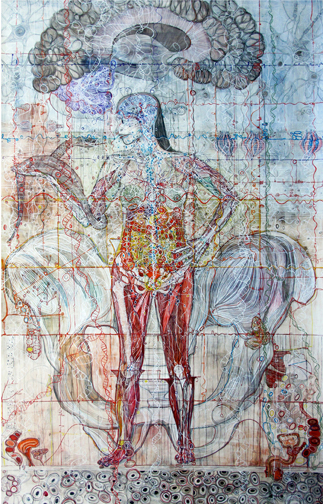 Monica Aissa Martinez, Female Front Body, mixed media drawing on paper